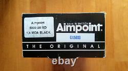 Aimpoint 5000 XD-2X (1.5 MOA RED DOT) BLACK WithWarne Maxima ExHigh QD Scope Rings
