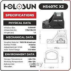 Holosun HS407C X2 2 MOA Red Dot Open Reflex Sight