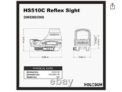 Holosun HS510C 2 MOA Dot Solar Power Holographic Red Dot Sight